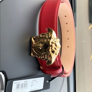 PALAZZO BELT WITH MEDUSA BUCKLE (Red size 90)